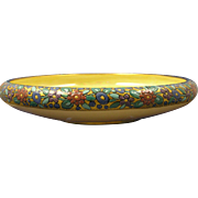 "SALE Porcelain Blank Arts & Crafts Enameled Floral Design Console/Centerpiece Bowl (Signed """