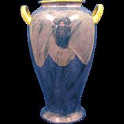 SALE Pickard Studio Mottled Blue Design Handled Vase (c.1918-1919)