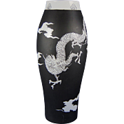 "Porcelain Blank Black & White ""Chinese Dragon"" Design Vase (Signed ""Viola Hyman"