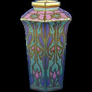SALE American Satsuma Arts & Crafts Enameled Poppy Motif Vase (c.1910-1930)