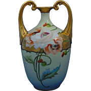 SALE Bavaria Arts & Crafts Poppy Motif Handled Vase (c.1910-1930)