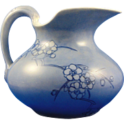 "Delinieres & Co. (D&Co.) Limoges Arts & Crafts Blue Floral Motif Pitcher (Signed ""G.A.R ."