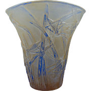 SALE Consolidated Glass Yellow Wash Martele Katydid Vase (c. 1920's)