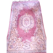 SALE Vintage Persian Wool Rug 4'x3' Soft Muted Mauve &  Blue