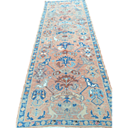 SOLD Magnificent Antique Persian Serapi Runner Beautiful Shades of Salmons & Blues GC! 9' x 3'