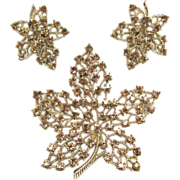 REDUCED Vintage Pale Amber Rhinestone Maple Leaf Brooch and Clip On Earrings Set