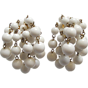 SALE Long White Bead Waterfall Earrings Clip On