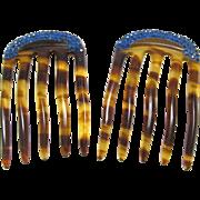 SALE Matching Pair Celluloid Blue Rhinestone Hair Combs