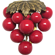Dress Clip Huge Grape Cluster with Large Red Beads