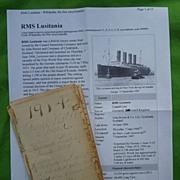 Fabulous 1914 World Travel Diary aboard the RMS LUSITANIA