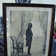 1844 Silhouette of President John Tyler in Original Frame by William Henry Brown