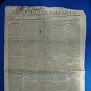 War of 1812 The New England Palladium Newspaper July 24 1812