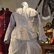 Original 1860's 2 Piece Grey Taffeta Dress with Watch Pocket