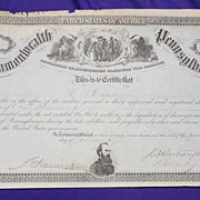 Great Civil War Document signed by Governor John F.Hartranft for damages to Gettysburg Farm