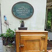 Cavalier Oak Ice Box with Original Ice Tongs