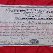 SOLD Montana Territory 1886 Warrant for Killing of Three Grizzly Bears !