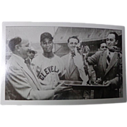 Baseball RPPC STRANGE Larry Doby Cleveland Indians Accepting Fire Award