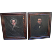 1830 American Oil Portraits of Uriah & Maria Beach Manchester,Michigan
