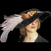 Incredible Edwardian Ladies Bird Hat with Beaver Skin