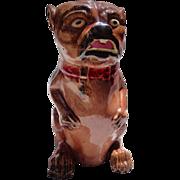 Fabulous Majolica Bulldog Pitcher 19th century