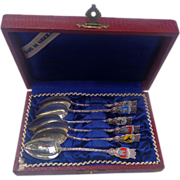 Sterling Silver German Demitasse Spoon Set in Leather Case