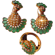 Incredible Art Deco Emerald Earring and Ring Set in 18ct. Gold
