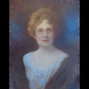 Miniature Portrait of Lady signed Bachrach Louis Fabian Bachrach