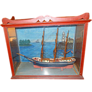 19th century Baltimore Clipper in Diorama Oak Display Case