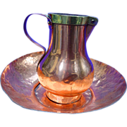 Antique American Copper Pitcher and matching Basin Bowl