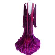 """SALE PENDING Incredible Art Deco Crushed Purple Velvet Evening Gown """"To the nines"""""""