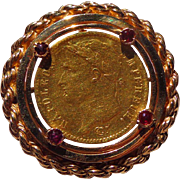 Stunning 14kt. Gold Pendant with Rubies  holding 1813 Napoleon 20 Francs Gold Coin.