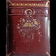 Decatur Illinois Victorian Photo Album in Unique Red Leather Album