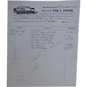 Fort Benton Montana Terriority Railroad Supply Invoice for Tom C.Power May 30 1875