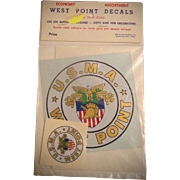 U.S.M.A. West Point Auto Decals from the 1960's Unopened Pack