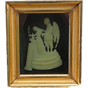 Georgian period Funeral Wax Sculpture of a Comforting Angel with widow in shadow box.