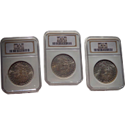 SALE PENDING Three  Handsome  New Orleans Morgan Silver Dollars MS64 1883-84