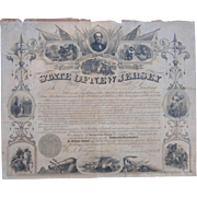 Sargent John F.Goff New Jersey 25th Regiment Declaration of Service New Jersey Governor Marcus