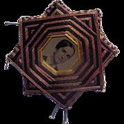 Unusual Victorian  Folk Art Tintype Photographs Pin Cushion