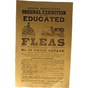 RARE 1830's  Signor Bertolotto's original Exhibition of the Educated Fleas Flyer Side Show .