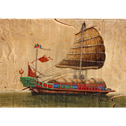 Vietnamese Dong Song Boat from eastern seas of China, Painted on silk by unknown artist, 19th