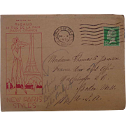 1931 Paris,France New Paris Styles Postal Cover Cancelled Washington D.C. France War Departmen