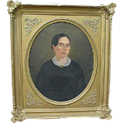 Early American portrait on oil of lady identified as Susan B. Anthony in large Court ...