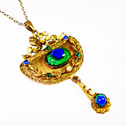 SOLD Art Nouveau Jeweled Peacock Eye Lavalier Necklace