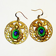 SOLD Huge Old Czech Foiled Peacock Eye Glass Dangle Earrings