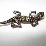 Early Sterling Silver Marcasite Figural Lizard Pin