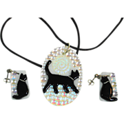 Opalescent Dichroic Fused Art Glass Cat Necklace & ERs