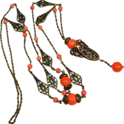 SALE 1920s Faux Coral Filigree Sautoir Flapper Necklace OLD