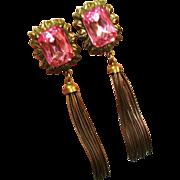 HUGE GLAM Pink Rhinestone Tassel Earrings