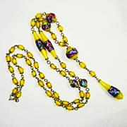 Superb Czech Foiled Art Glass Sautoir Necklace OLD 1920s RARE COLOR