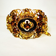 SOLD WIDE Signed Czech Ornate Jeweled Enamel Bracelet  Neiger
